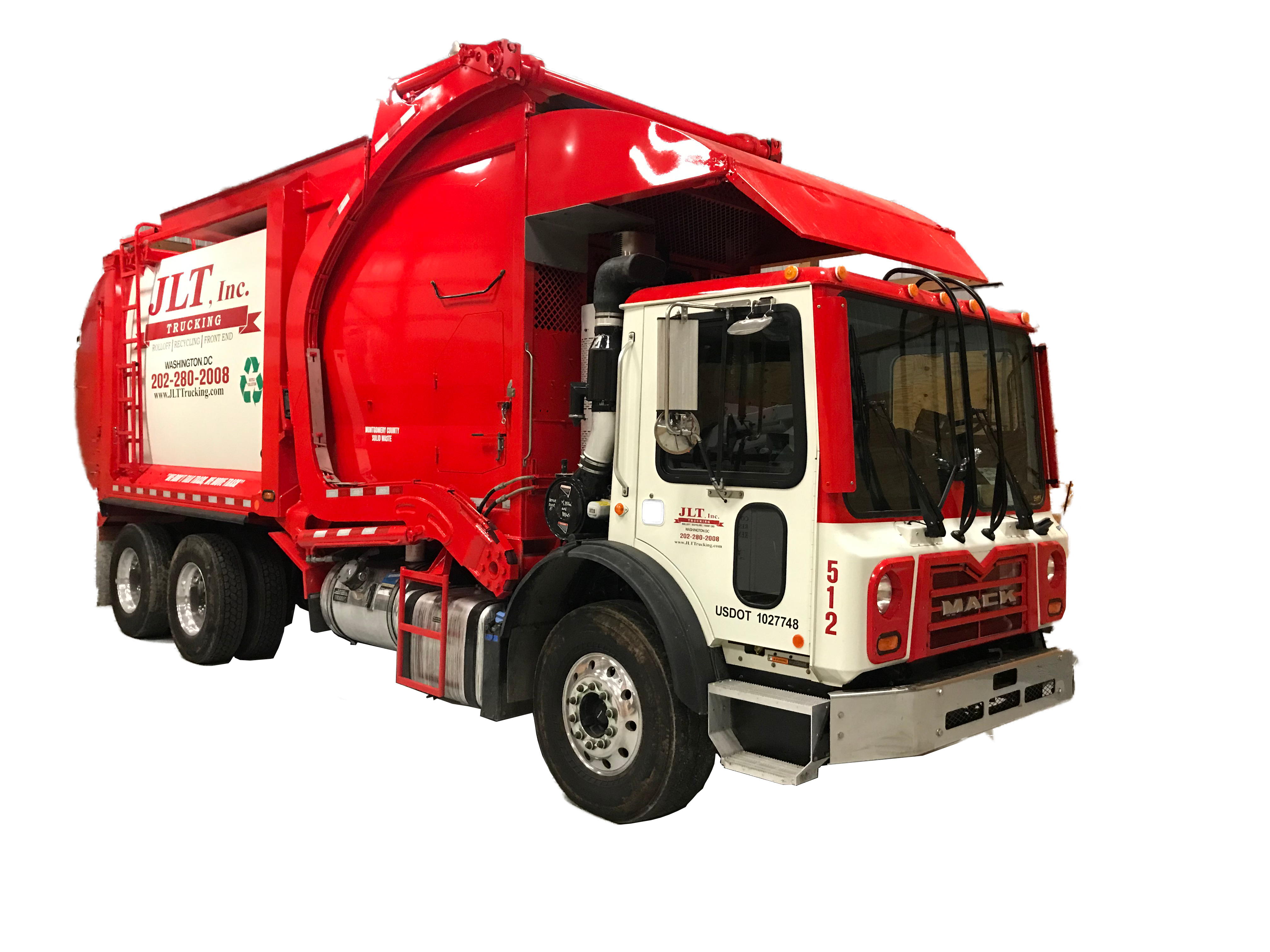 link for waste services; Transparent front load truck