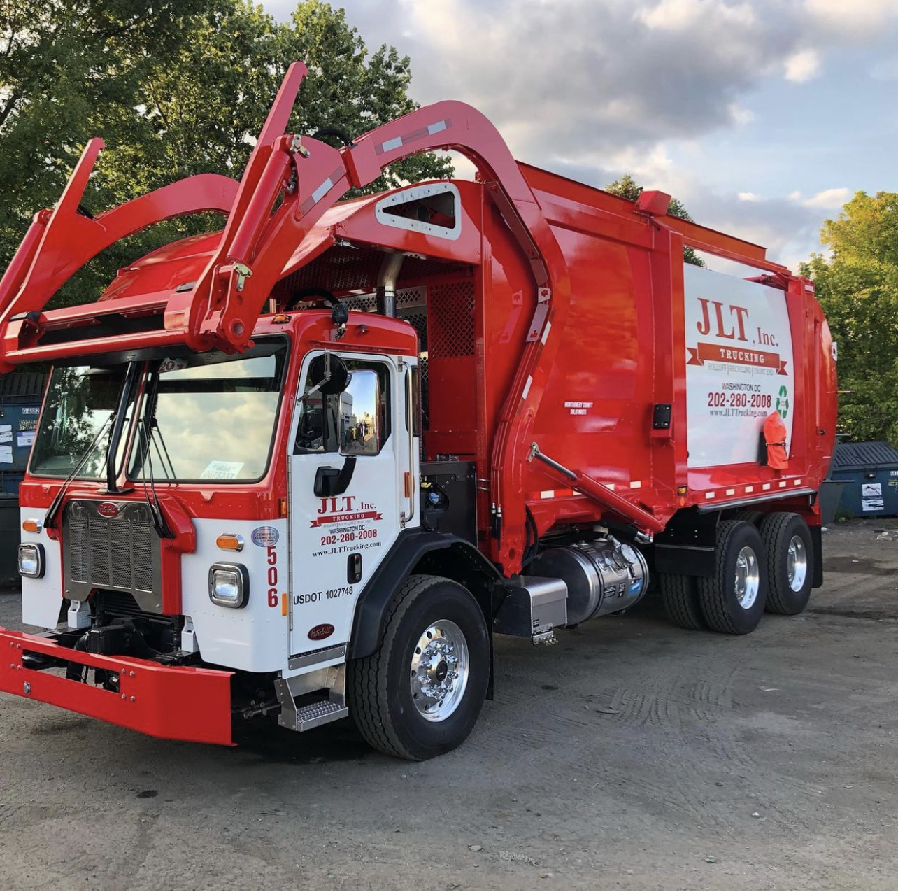 clean and new waste truck