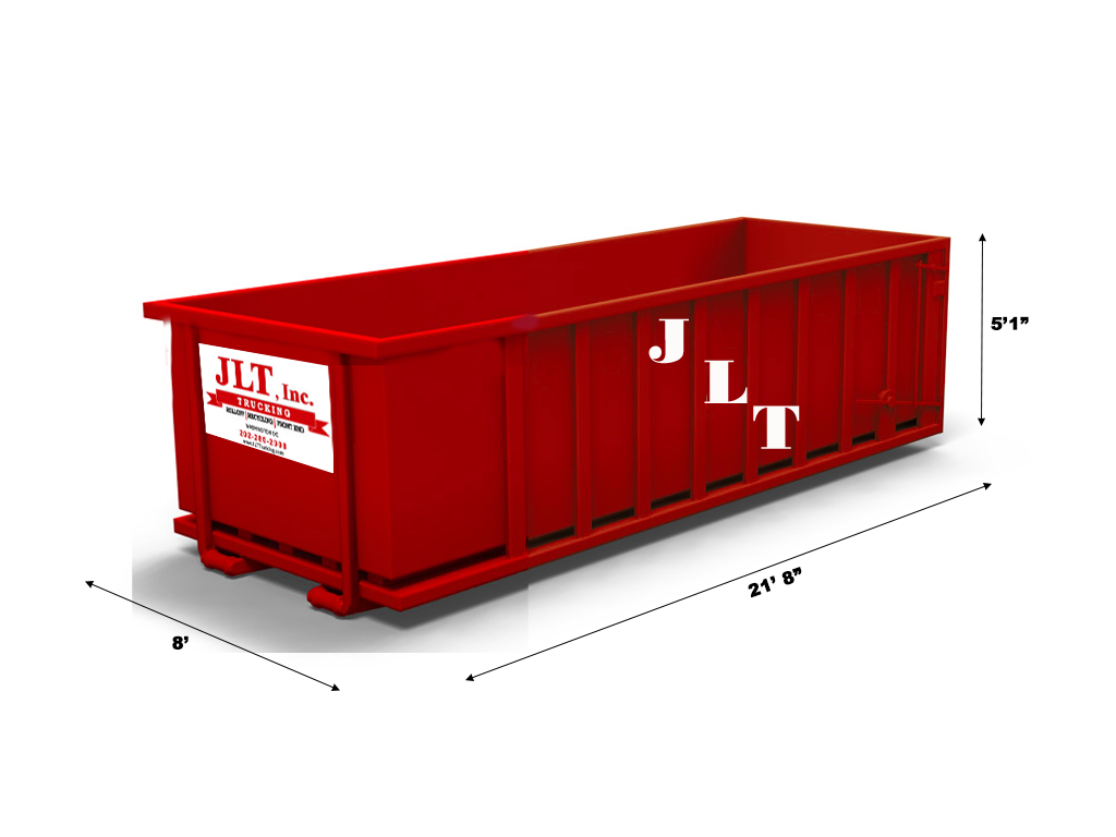 roll off container; To showcase the dimensions of the container.